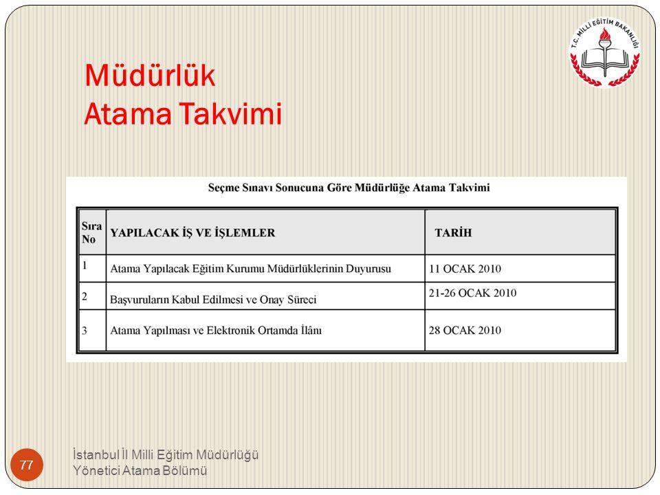 Müdürlük Atama Takvimi