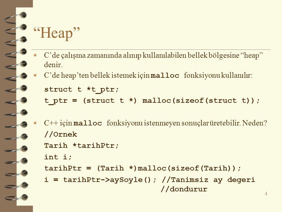 Heap C'de çalışma zamanında alınıp kullanılabilen bellek bölgesine heap denir. C'de heap'ten bellek istemek için malloc fonksiyonu kullanılır: