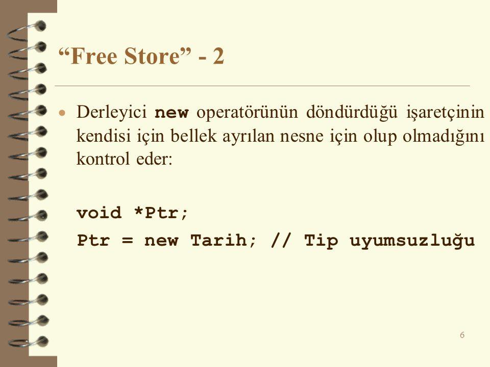 Free Store - 2 Derleyici new operatörünün döndürdüğü işaretçinin kendisi için bellek ayrılan nesne için olup olmadığını kontrol eder: