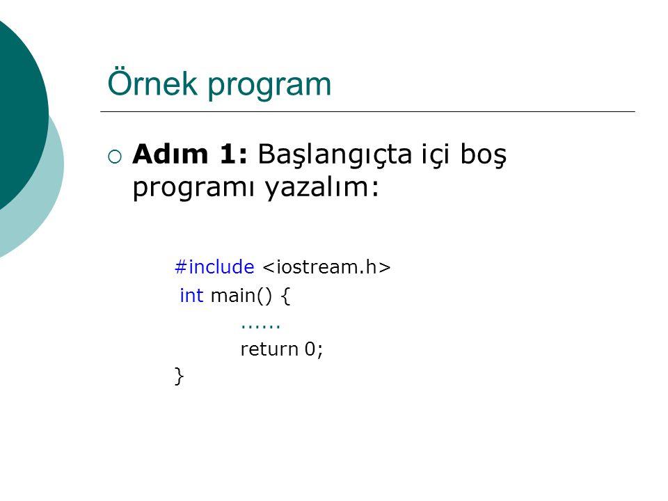 Örnek program Adım 1: Başlangıçta içi boş programı yazalım: