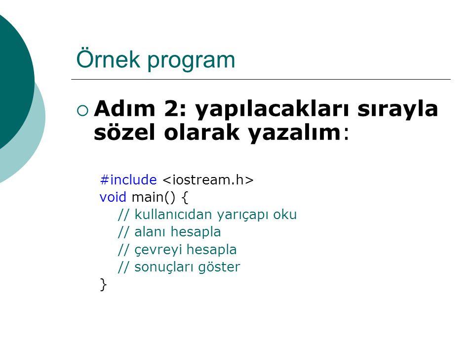 Örnek program Adım 2: yapılacakları sırayla sözel olarak yazalım: