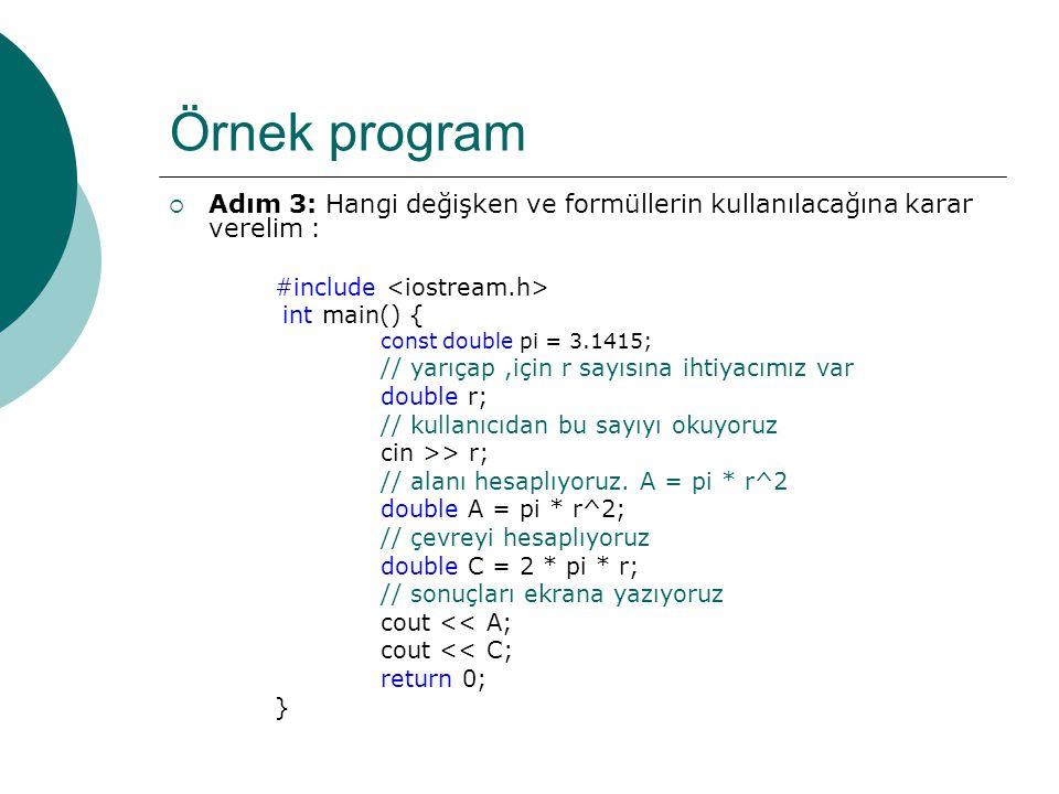 Örnek program Adım 3: Hangi değişken ve formüllerin kullanılacağına karar verelim : #include <iostream.h>