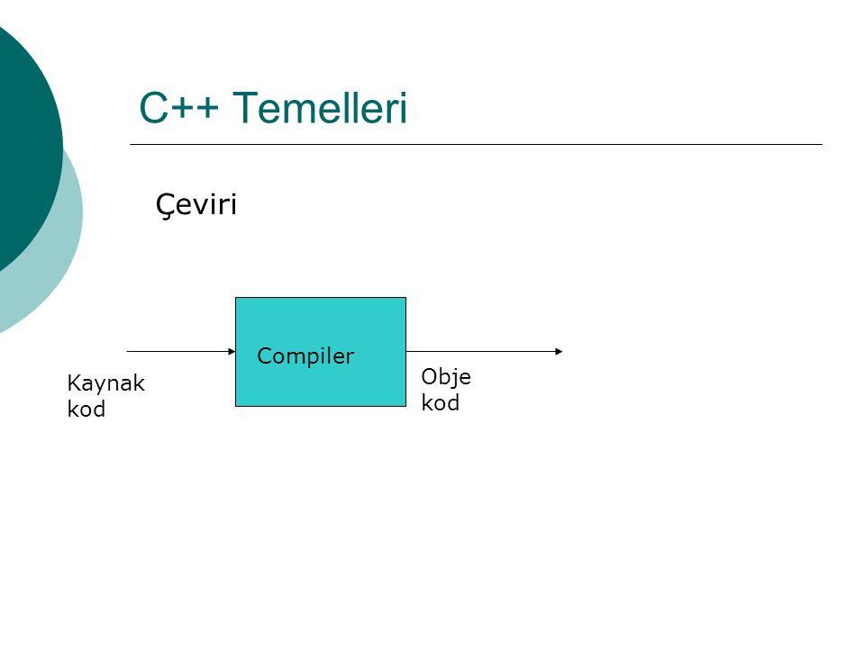 C++ Temelleri Çeviri Compiler Obje kod Kaynak kod