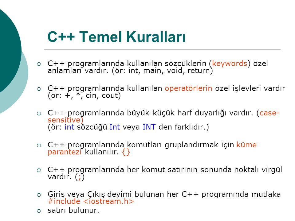 C++ Temel Kuralları C++ programlarında kullanılan sözcüklerin (keywords) özel anlamları vardır. (ör: int, main, void, return)