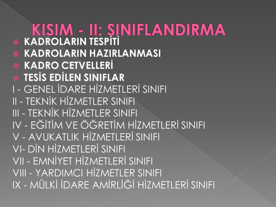 KISIM - II: SINIFLANDIRMA