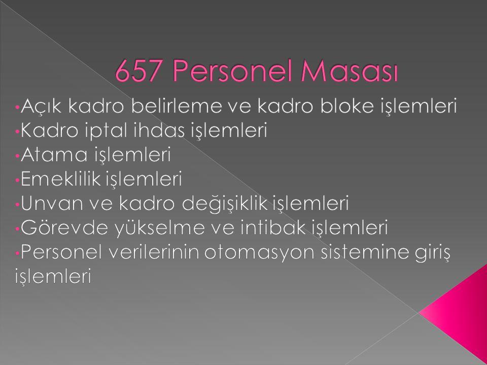 657 Personel Masası Açık kadro belirleme ve kadro bloke işlemleri