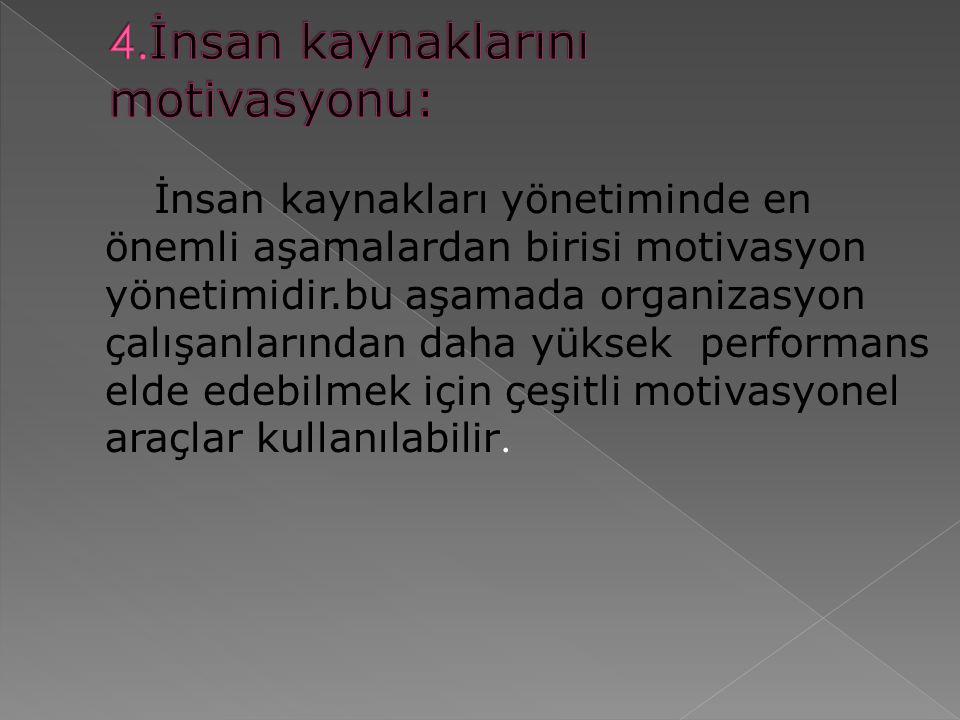 4.İnsan kaynaklarını motivasyonu: