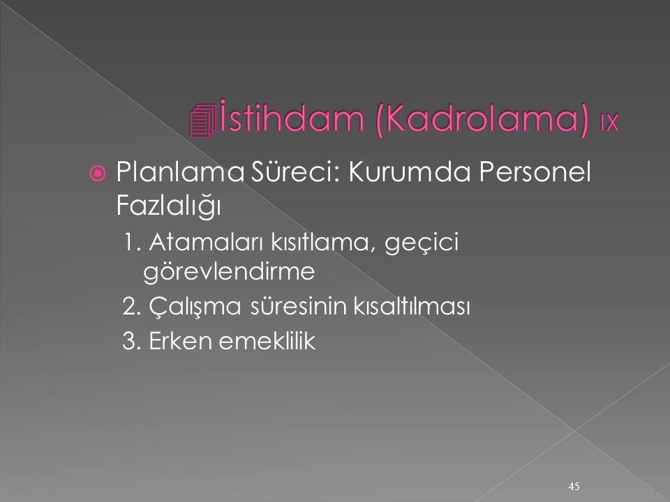 İstihdam (Kadrolama) IX