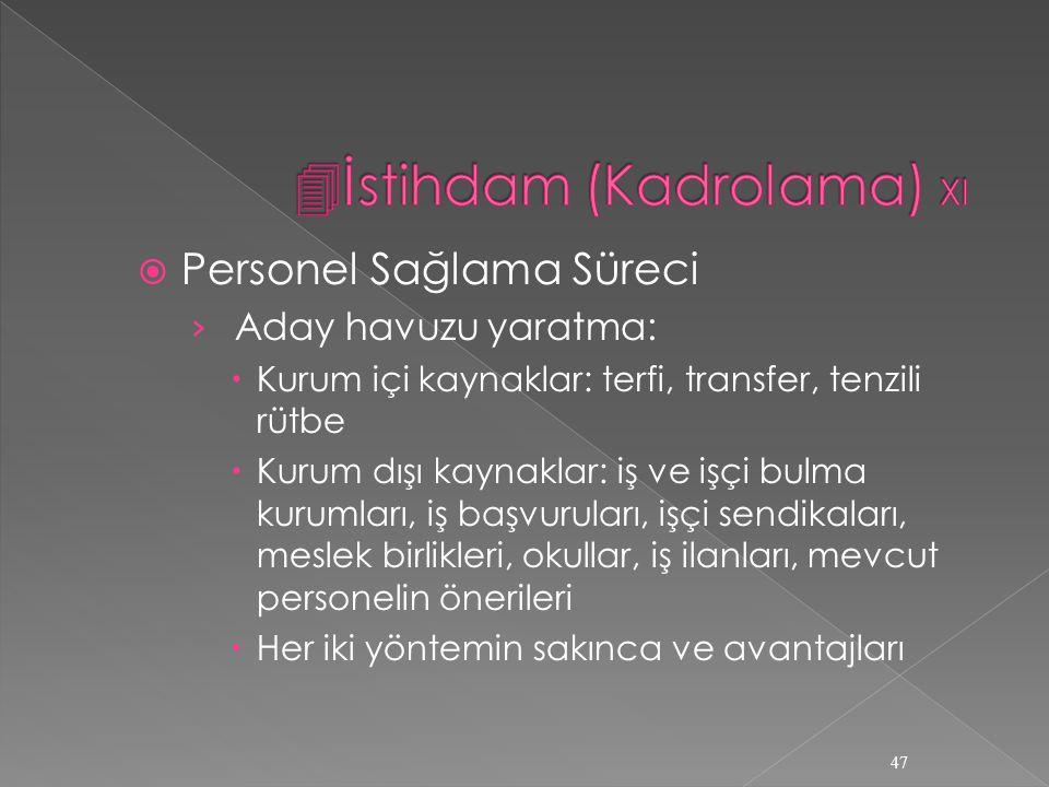 İstihdam (Kadrolama) XI