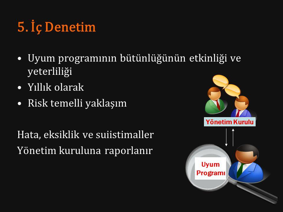 5. İç Denetim Uyum programının bütünlüğünün etkinliği ve yeterliliği