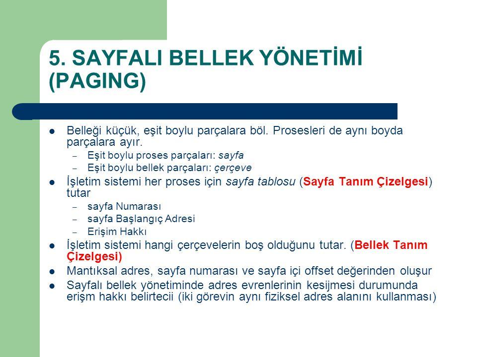 5. SAYFALI BELLEK YÖNETİMİ (PAGING)