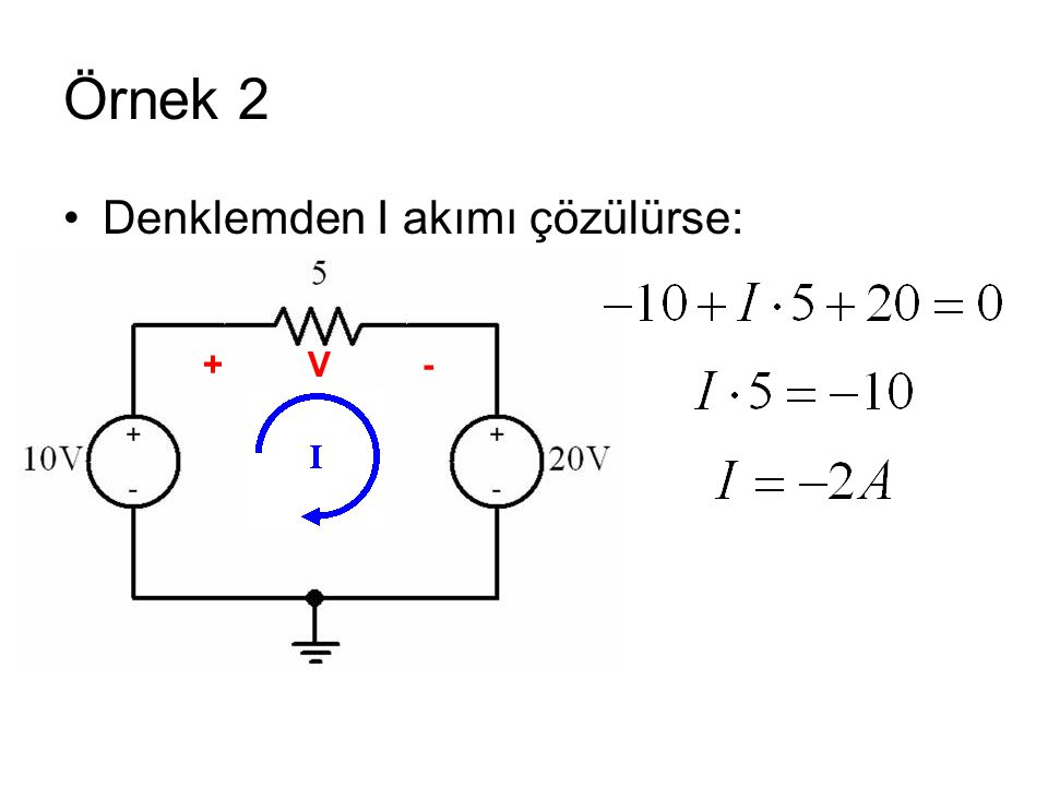 Örnek 2 Denklemden I akımı çözülürse: + V -