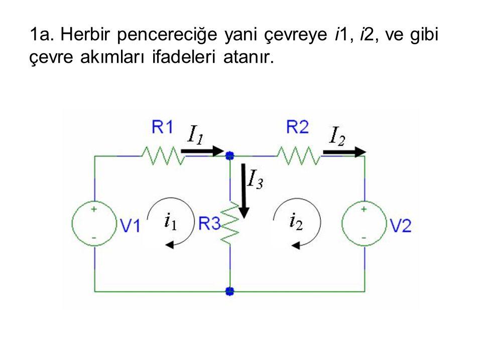 1a. Herbir pencereciğe yani çevreye i1, i2, ve gibi çevre akımları ifadeleri atanır.