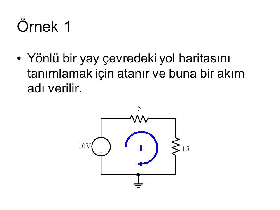 Örnek 1 Yönlü bir yay çevredeki yol haritasını tanımlamak için atanır ve buna bir akım adı verilir.