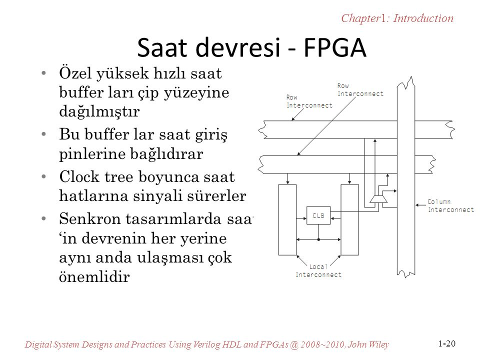 Saat devresi - FPGA Özel yüksek hızlı saat buffer ları çip yüzeyine dağılmıştır. Bu buffer lar saat giriş pinlerine bağlıdırar.