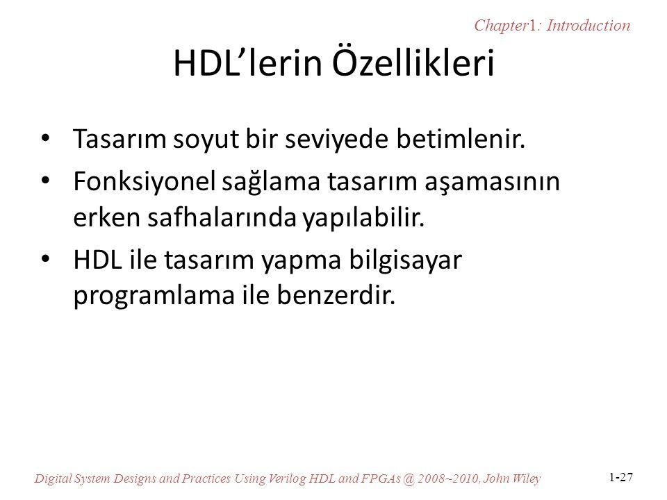 HDL'lerin Özellikleri