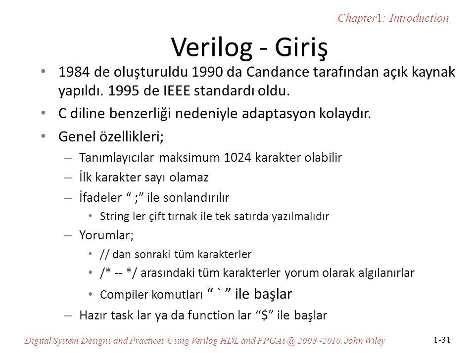 Verilog - Giriş 1984 de oluşturuldu 1990 da Candance tarafından açık kaynak yapıldı. 1995 de IEEE standardı oldu.