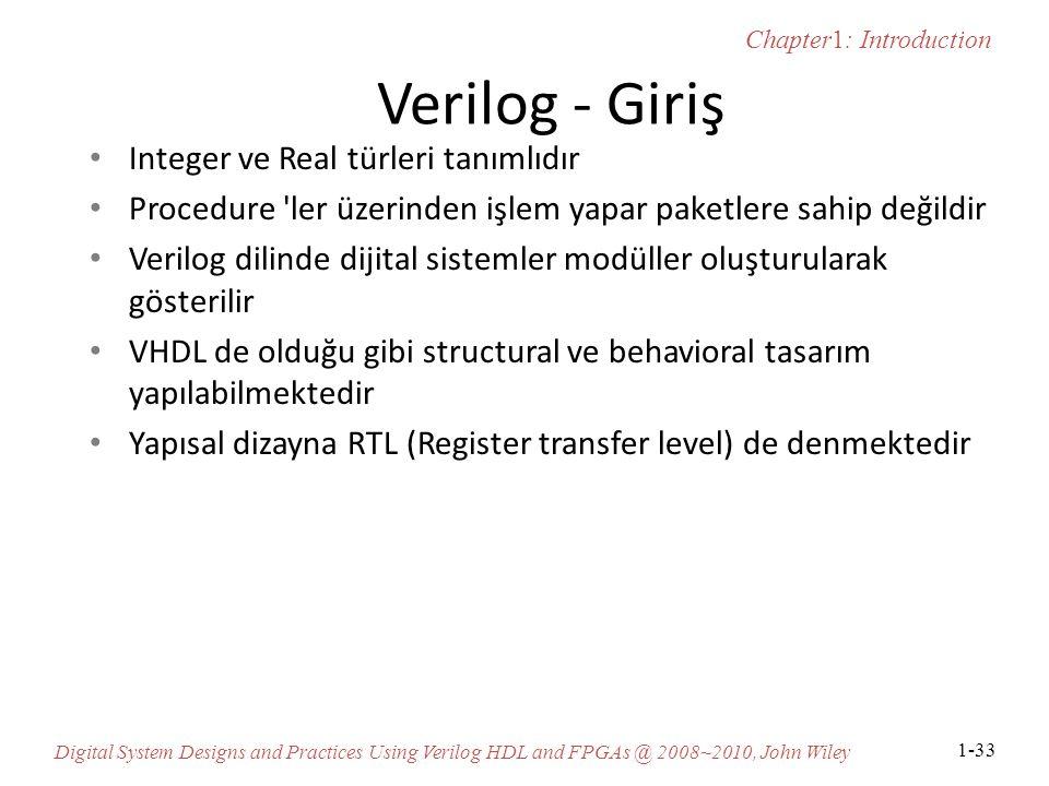 Verilog - Giriş Integer ve Real türleri tanımlıdır