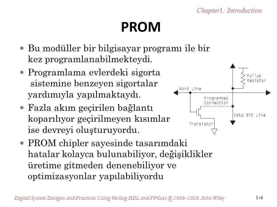 PROM Bu modüller bir bilgisayar programı ile bir kez programlanabilmekteydi.