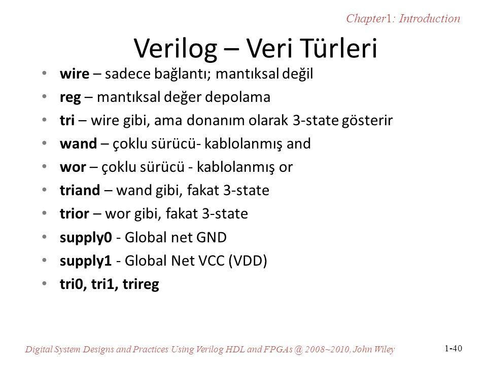Verilog – Veri Türleri wire – sadece bağlantı; mantıksal değil
