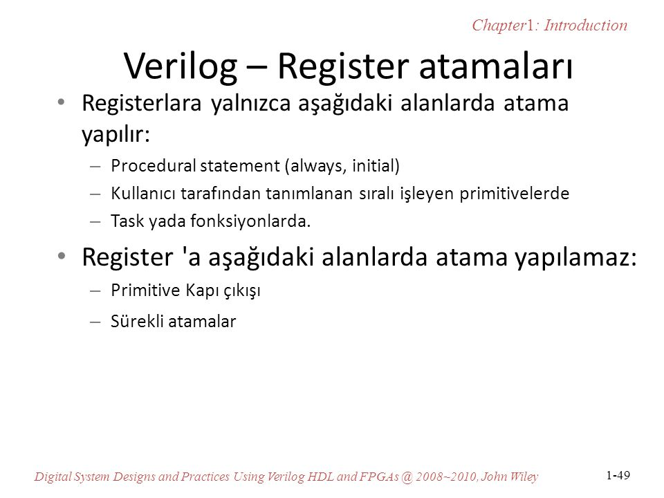 Verilog – Register atamaları