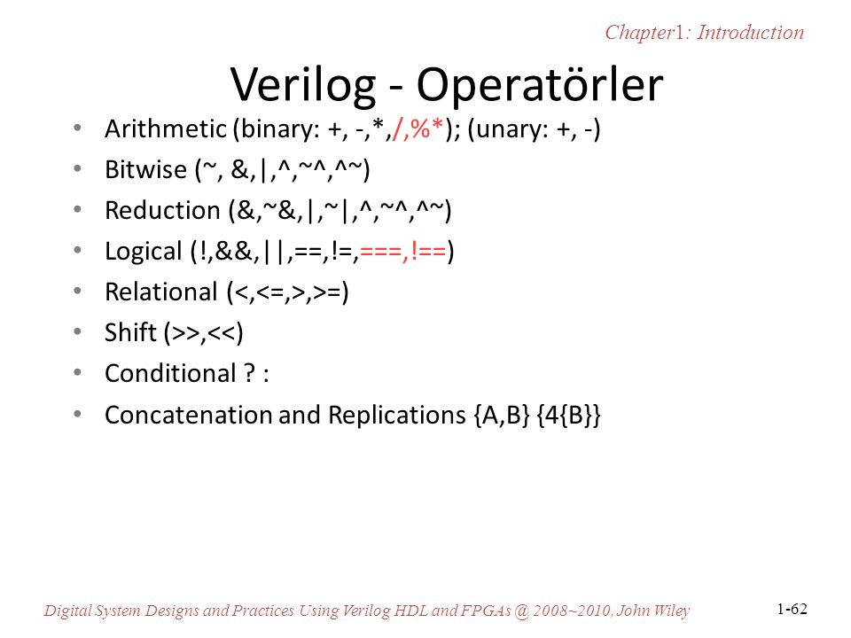 Verilog - Operatörler Arithmetic (binary: +, -,*,/,%*); (unary: +, -)