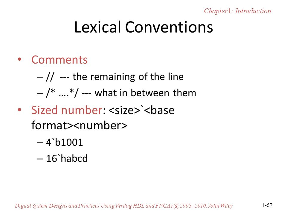 Lexical Conventions Comments