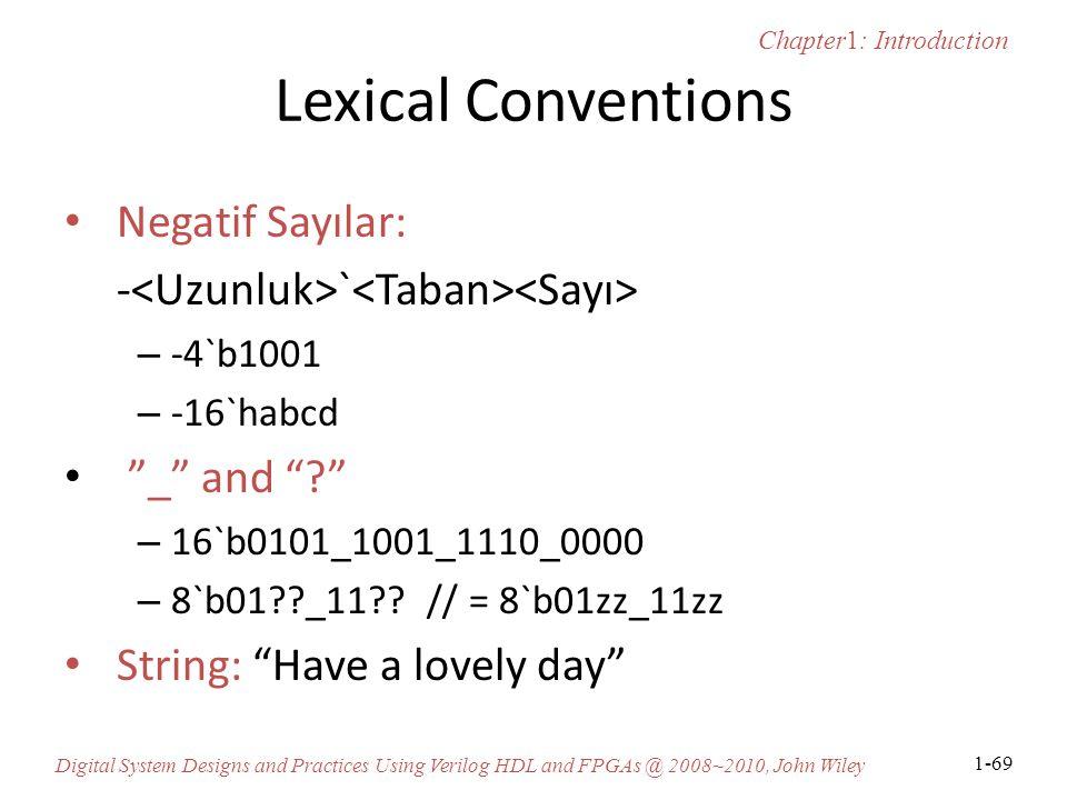 Lexical Conventions Negatif Sayılar: