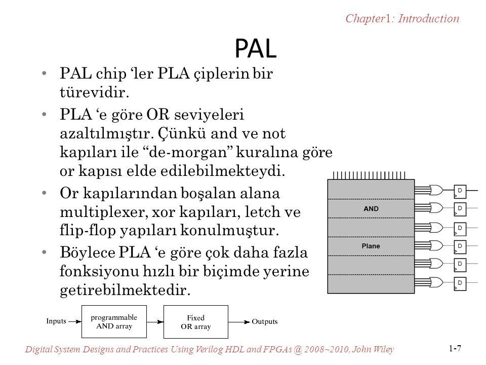 PAL PAL chip 'ler PLA çiplerin bir türevidir.