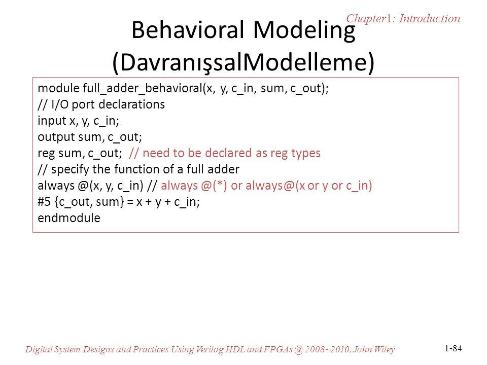 Behavioral Modeling (DavranışsalModelleme)