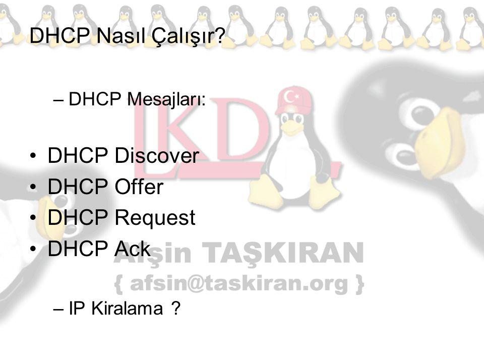 DHCP Nasıl Çalışır DHCP Discover DHCP Offer DHCP Request DHCP Ack