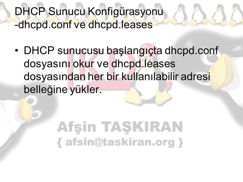 DHCP Sunucu Konfigürasyonu -dhcpd.conf ve dhcpd.leases