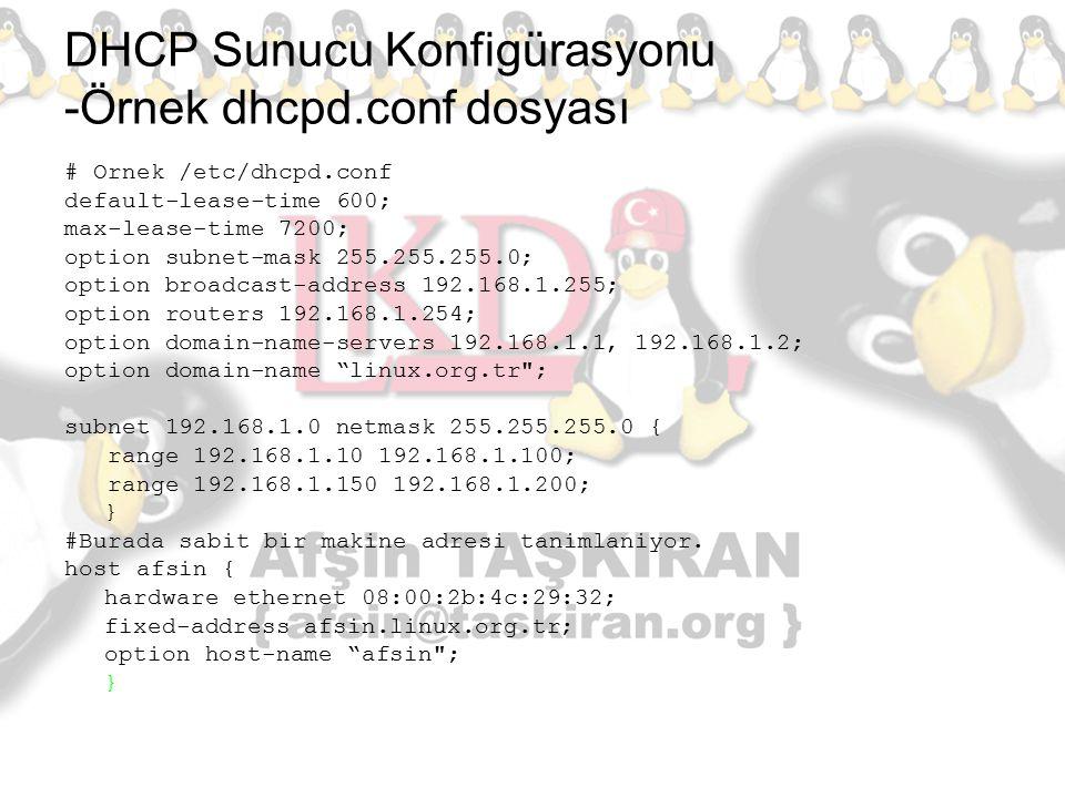 DHCP Sunucu Konfigürasyonu -Örnek dhcpd.conf dosyası