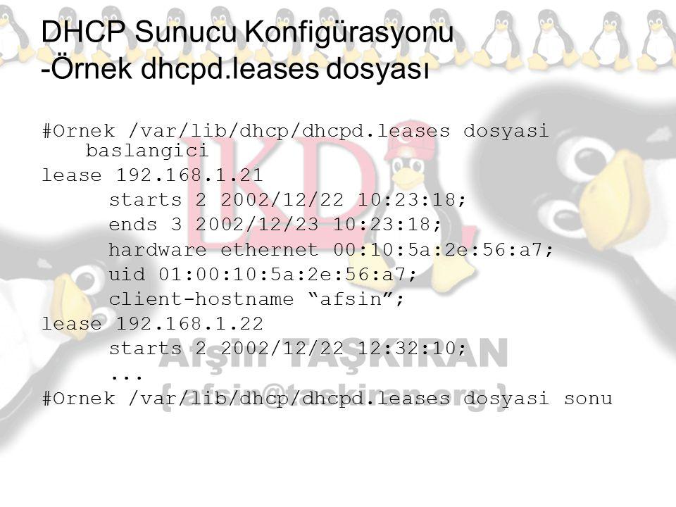 DHCP Sunucu Konfigürasyonu -Örnek dhcpd.leases dosyası