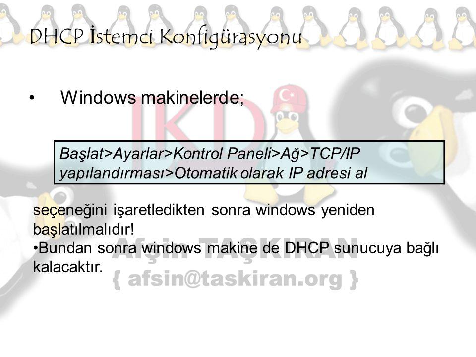DHCP İstemci Konfigürasyonu