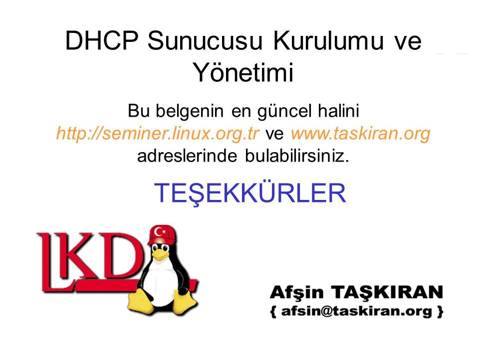 DHCP Sunucusu Kurulumu ve Yönetimi