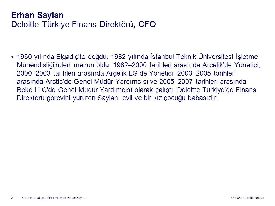 Erhan Saylan Deloitte Türkiye Finans Direktörü, CFO
