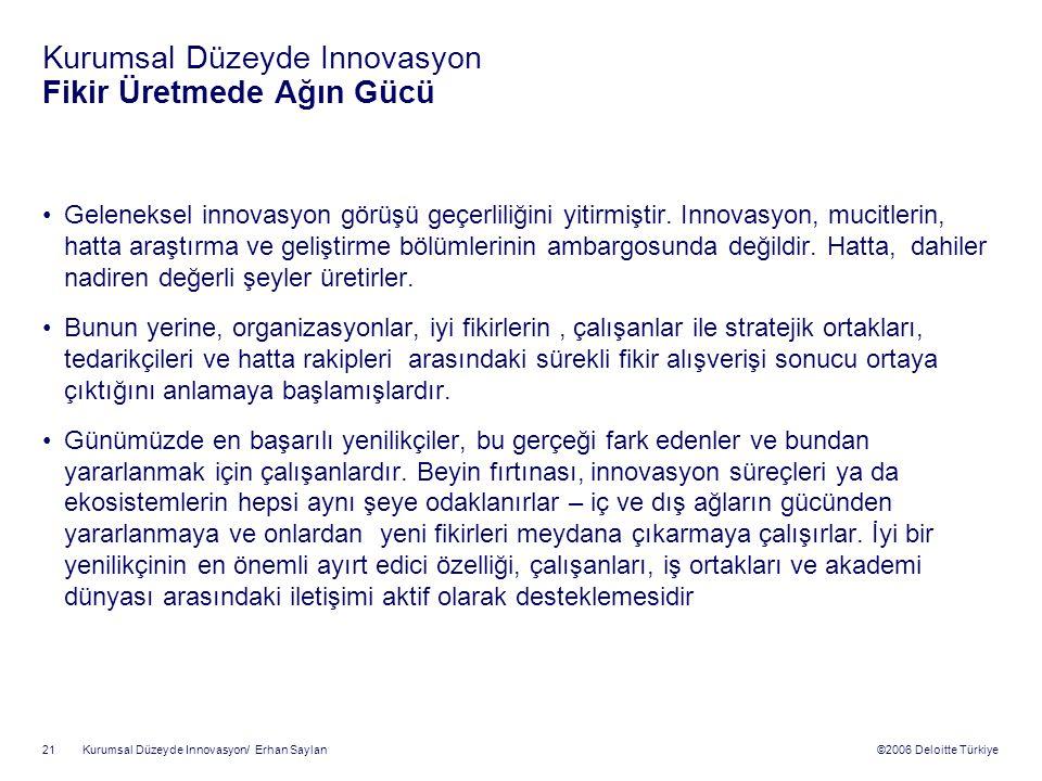 Kurumsal Düzeyde Innovasyon Fikir Üretmede Ağın Gücü