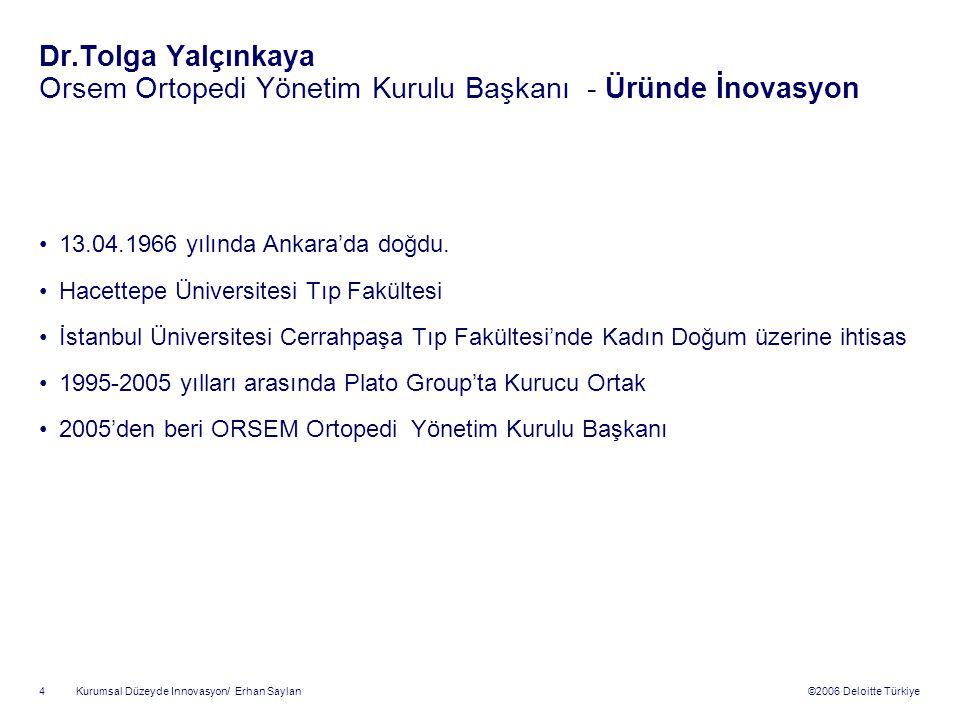 Dr.Tolga Yalçınkaya Orsem Ortopedi Yönetim Kurulu Başkanı - Üründe İnovasyon
