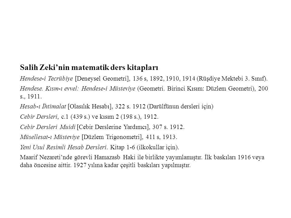 Salih Zeki'nin matematik ders kitapları