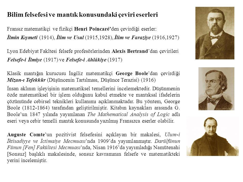 Bilim felsefesi ve mantık konusundaki çeviri eserleri