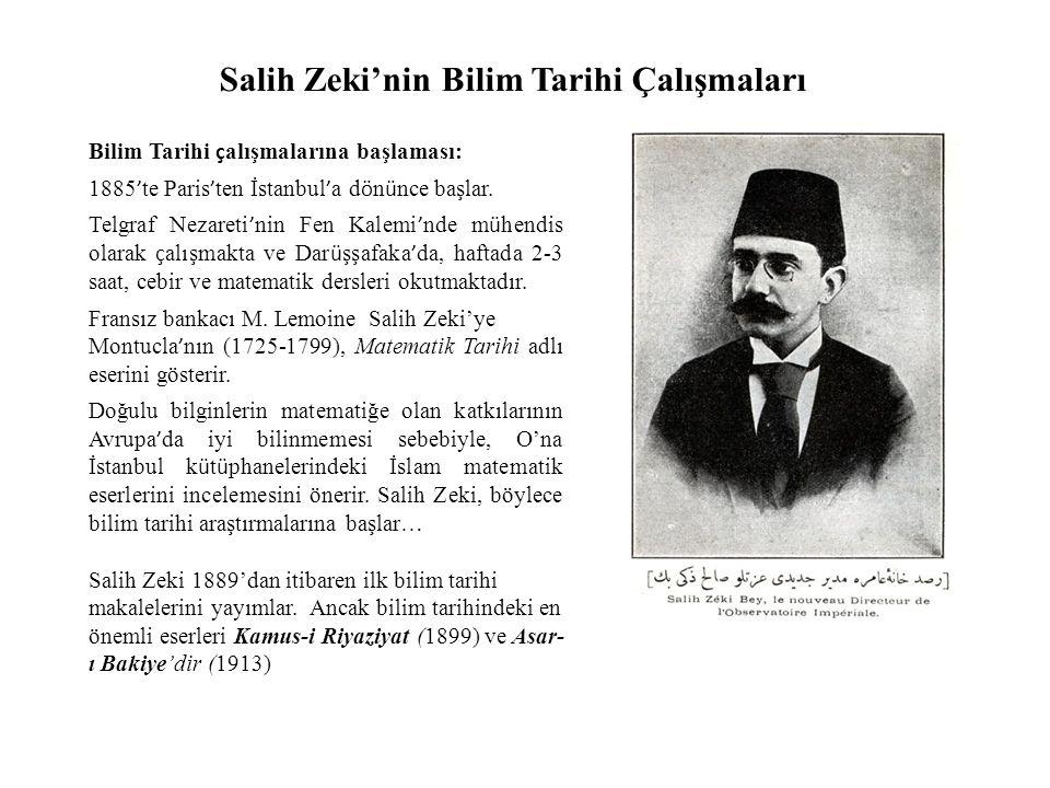 Salih Zeki'nin Bilim Tarihi Çalışmaları