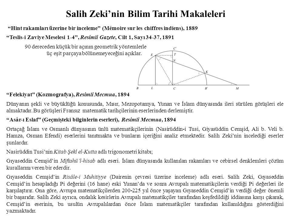 Salih Zeki'nin Bilim Tarihi Makaleleri