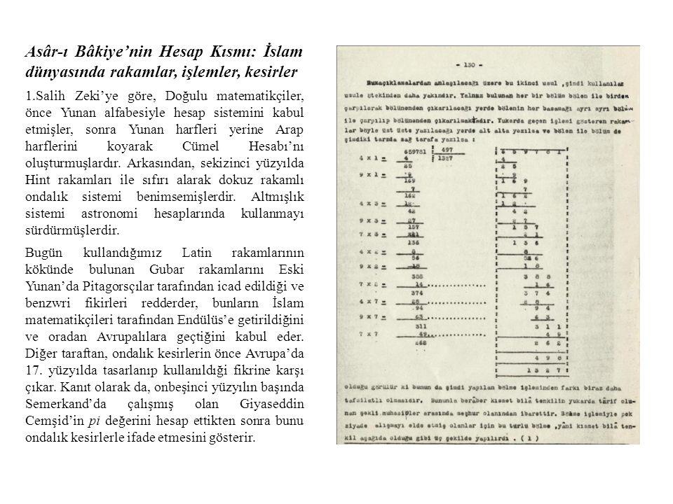 Asâr-ı Bâkiye'nin Hesap Kısmı: İslam dünyasında rakamlar, işlemler, kesirler