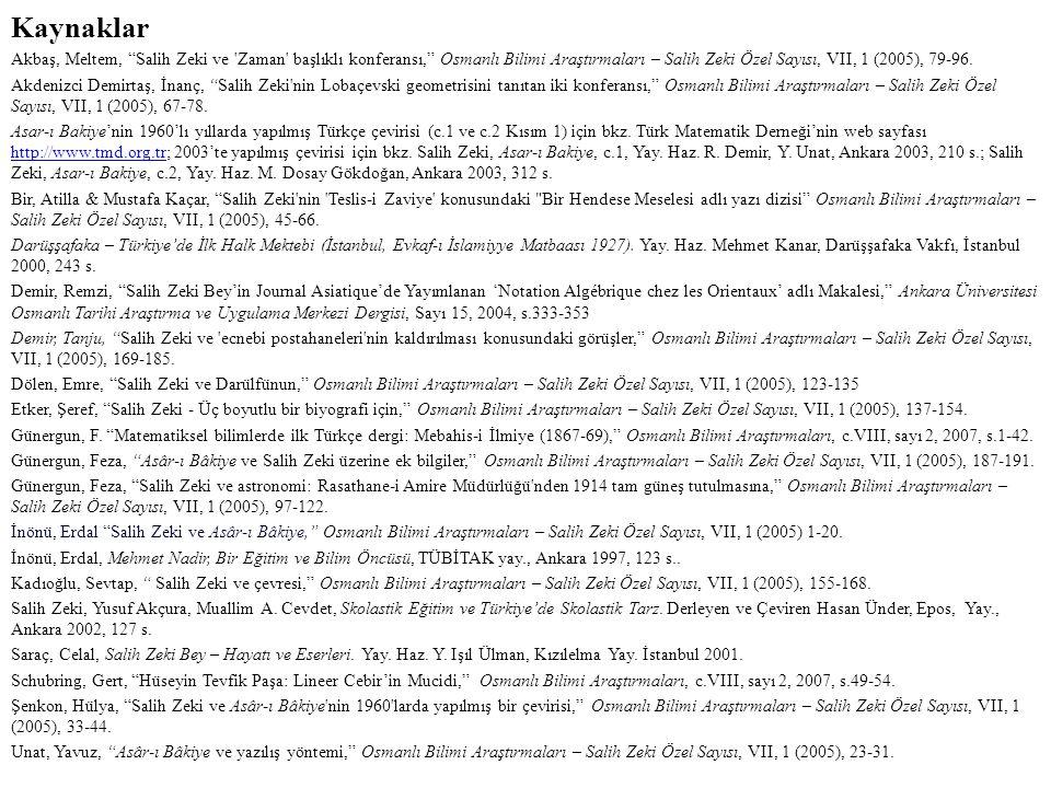 Kaynaklar Akbaş, Meltem, Salih Zeki ve Zaman başlıklı konferansı, Osmanlı Bilimi Araştırmaları – Salih Zeki Özel Sayısı, VII, 1 (2005), 79-96.