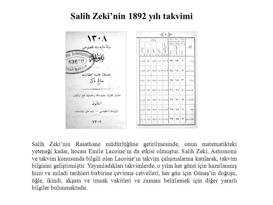 Salih Zeki'nin 1892 yılı takvimi