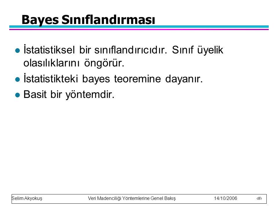 Bayes Sınıflandırması