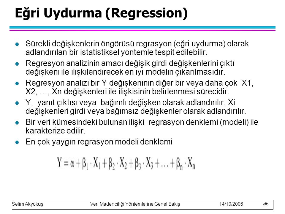 Eğri Uydurma (Regression)
