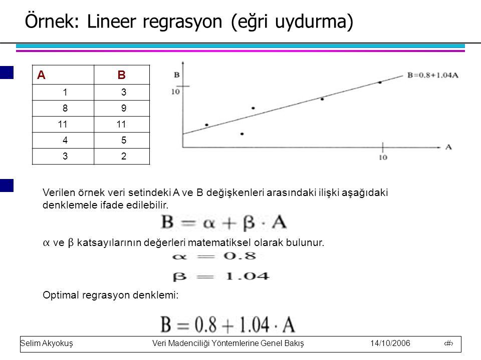 Örnek: Lineer regrasyon (eğri uydurma)
