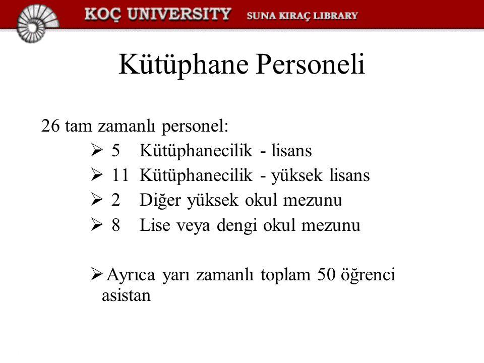 Kütüphane Personeli 26 tam zamanlı personel: 5 Kütüphanecilik - lisans
